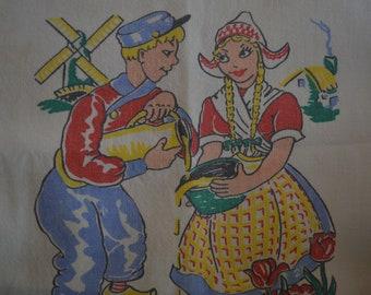Vintage Dutch motif Drying cloth or Kitchen towel