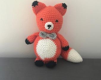Mister Fox Handarbeit häkeln Amigurumi gestopft, Mädchen, junge, Geschenk, Spielzeug, Fliege