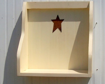 country chic cookbook shelf buttermilk wooden shelf  primitive rusty star