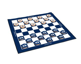 Brigham Young University BYU Cougars 2-in-1 Giant Checkers & All Weather Mat