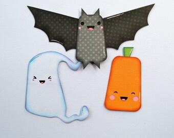 CraftECafe Ghost Paper Piecings Halloween Pumpkin Premade Scrapbook Page Layout