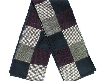 Patchwork Long Scarf Classic Wool Handmade Accessory, Blue Purple Gray, Upcycled Fall Winter Outerwear Fashion Accent Men Women Muffler Gift