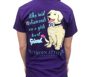 Southern Attitude Girls Best Friend Dog Purple Women's Short Sleeve T-Shirt
