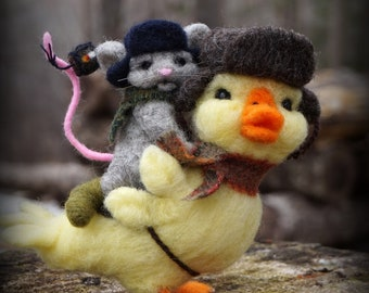 Needle felted Animal Bird Duck Mouse Needlefelted Soft Sculpture Animal by Bella McBride