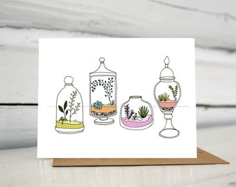 Illustrated terrariums blank greeting card