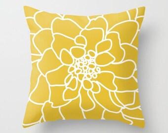 Modern Flower Pillow  - Yellow Decorative Pillow - Abstract Flower Pillow - Home Decor - By Aldari Home