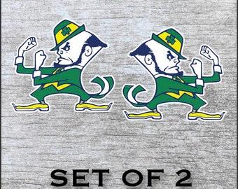"Notre Dame Fighting Irish Sticker Decal Vinyl  SET OF 2 (12"", 17"") Cornhole Car Truck Any Flat Surface Wrap"