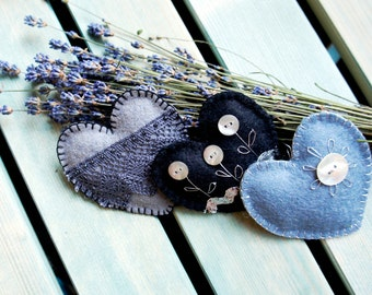 Heart ornament felt, set of 3, with button flowers, lace,black, grey, silver, Wedding, Valentine's day, Christmas ornament, Birthday gift
