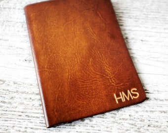 Personalized Passport Cover Travel Wallet, Custom Initials in Real Leather, The Perfect Personalized Travel Gift for Those With Wanderlust