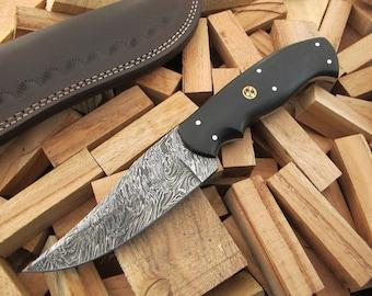 "9""Superior Quality Custom Hand Forged Damascus Steel Hunting / Skinning / Camping / EDC Knife Black Micarta Handle SQ-47"