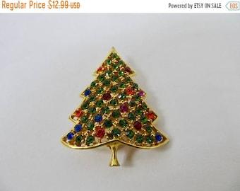 ON SALE Vintage Colorful Rhinestone Christmas Tree Pin Item K # 51
