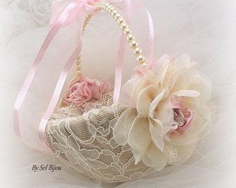 Flower Girl Basket Ivory Blush Pink Champagne Vintage Style Lace Basket Pearl Handle Basket Gatsby Wedding Gift