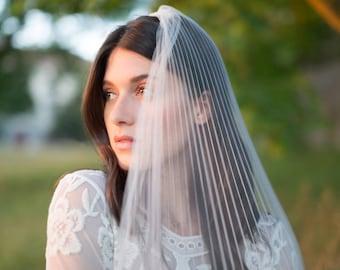 PLEATED TULLE VEIL - cascade veil - tulle veil - bridal veil - wedding veil - textured veil - double layer veil - fingertip veil