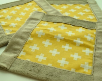 Mustard Cross Lovey / Baby Security Snuggle Square