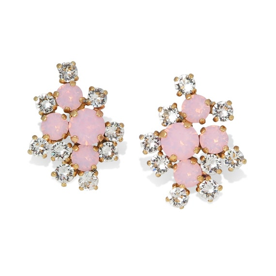 Pink Opal Statement Stud Earrings