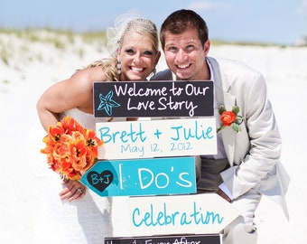 Beach Wedding Signs.  Five Customized Directional Signs with Arrows. Wedding Ceremony, I Do's or Celebration. Welcome to Our Love Story.