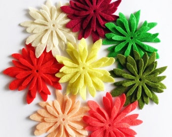 Flores de Fieltro 13, 24 piezas, Figuras Fieltro, Aplique, Confetti, Decoración Fiestas, DIY Bodas, fieltro