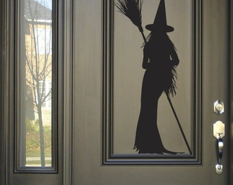 Witch silhouette Funny Wall Decal, Scary Halloween Decoration wicked broom