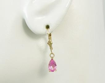 14K Gold Dangle Pink Topaz Pear Drop Gemstone European Spring Back Bar Top Lever Back Classic High Fashion Earrings 14KPKTOPPEAR8X5LLB