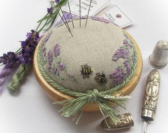 PPO4L Lavender & Bees on Linen Pincushion Kit
