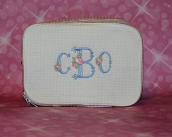 Costmetic Bag, Momogrammed make up bag, Top Seller, Monogrammed Waffle Weave Cosmetics Bag, Personalized Toiletry Bag