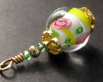 Rosebud Pendant. Lampwork Glass Beaded Charm in Yellow and Pink. Keyring, Zipper Pull, Purse Charm or Phone Charm.