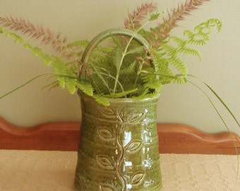 Utensil Holder/Vase Green - Flower Basket Form with Vine and Leaf Stamp
