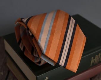 Vintage silk tie, monti mens necktie, silk neck tie, ribbed striped cravat cravatte / orange blue navy