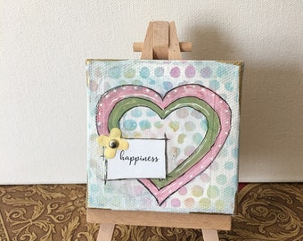 Small Canvas, 3x3 Canvas Heart, Hearts Painting, Canvas and Easel, Acrylic Paintings, Affirmation Art, Inspirational Art, Office Desk Art