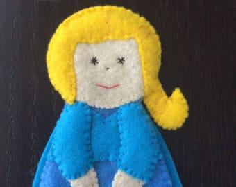 Snow Princess doll felt finger puppet