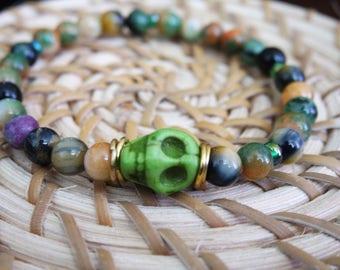 Stretchy Petite Beaded Skull Bracelet
