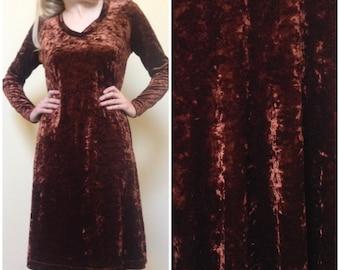 90's Grunge Brown Velour Dress