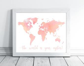 Nursery Printables, World Map, World Map Wall Art, Watercolor World Map, Nursery Wall Art, World Map Poster, World Map Print, Nursery Decor