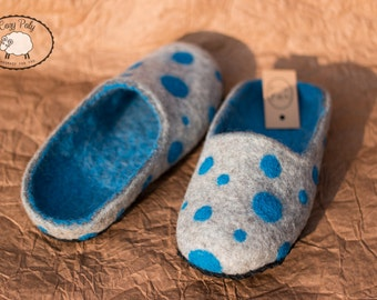 60th birthday Mother in law gift felted slippers Polka Dot Womens Slippers House Shoes Wool Slippers for Women felt slippers woolen clogs