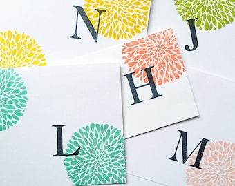 Bright Stationery. Initial Notecards. Letter Cards. Custom Stationery. Initial Stationery. Monogram Stationery. Colorful Floral Stationery.