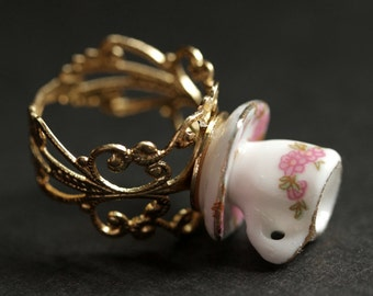 Pink Floral Teacup Ring. Miniature Tea Cup Ring with Pink Flowers. Gold Filigree Ring. Adjustable Ring. Gold Ring. Handmade Gold.