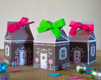 Printable Gift Box - Gingerbread House -  Gift Box - Treat Box - Instant Download Gift Box