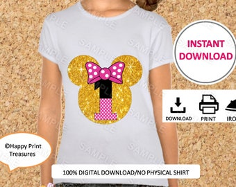 Minnie Mouse Head, Gold Glitter,Number 1, IMAGE  Printable, Iron on Transfer, Minnie Shirt,Birthday, Instant Download, DIY