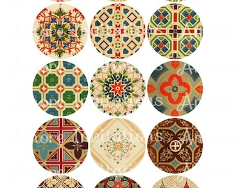 Digital Vintage Backgrounds Patterns Collage Sheet Clip Art 2 Inch circles Round images Tags JPG, PDF Instant Download Commercial Use CU