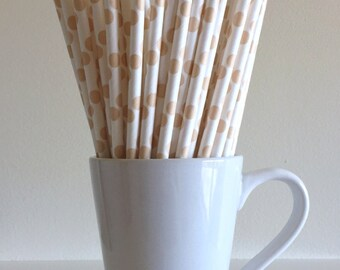 Cream Paper Straws Ivory Beige Tan Polka Dot Party Supplies Party Decor Bar Cart Cake Pop Stick Mason Jar Straw  Party Graduation
