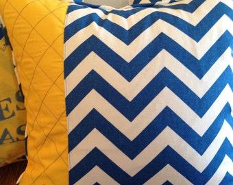 Azul real almohada cubierta 18 x 18 pulgadas Chevron almohada azul oro almohada cubierta azul blanco almohada cubre cremallera almohada cubierta la cubierta