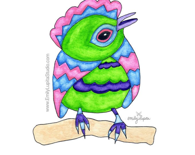 Painting / Art Print / Bird Home Decor / Unique Artwork Gift / Parents Children Kids  / Nursery Baby Shower Girl's Room / Arthur Bird