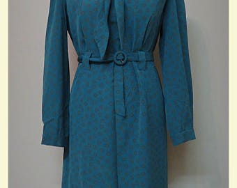 Vintage 20s/30s style dress dark turquoise M/L