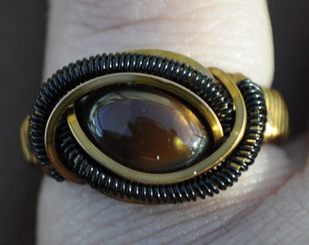 Size 5.5 Genuine Fire Agate Wire Wrapped Ring in Copper