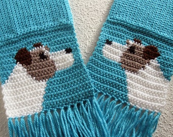 Jack Russell Terrier Scarf. Turquoise knitted scarf with Parsons Terriers. Knit dog scarf. Knit dog gift. Jack Russell gift