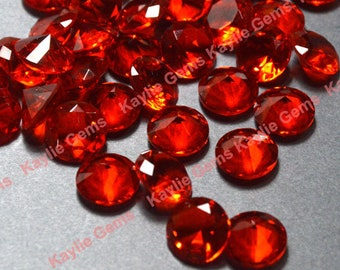 Sale - 12pcs 10mm SS45 Round Glass Jewel Pointed Back Unfoiled- Orange Fire Red