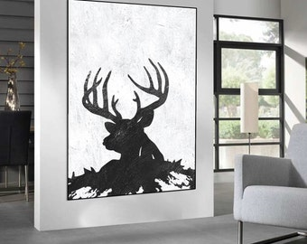 abstract painting on canvas, deer Painting on canvas, black and white handmade original Painting, Abstract art, home fine art