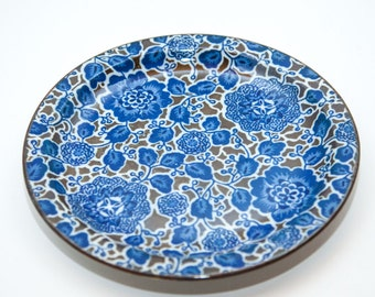 Beautiful Blue and Brown Salad Plate by Takahashi of San Francisco