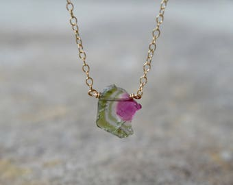 Watermelon Tourmaline Slice Necklace