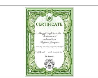 Keystone Letterpress Gift Certificate